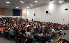 Principal JC DeArmas addresses the crowd at the New Student Orientation on August 17, 2019. With over 1000 attendees, it was the largest orientation in South Dade history.